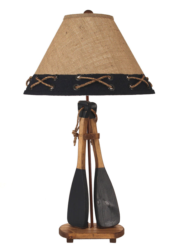 Stain/Navy 2-Boat Paddles w/ Rope Table Lamp - Coast Lamp Shop