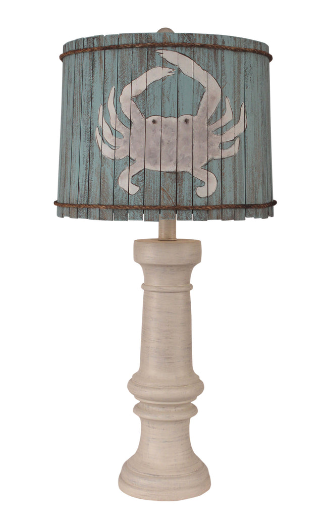 Cottage Chunky Casual Table Lamp w/ Atlantic Grey Crab Shade - Coast Lamp Shop
