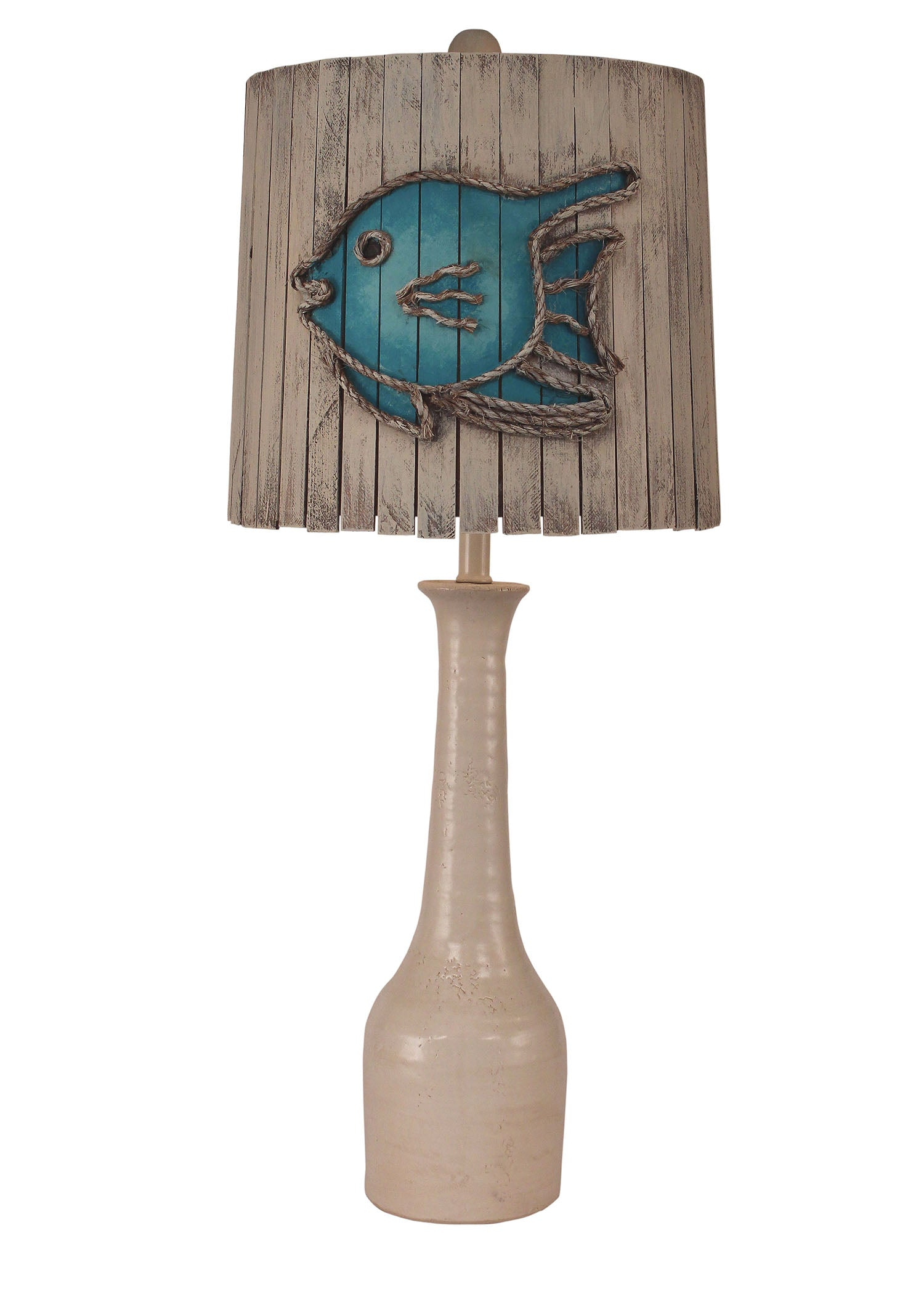 Antique Cottage Slender Neck Pottery Table Lamp w/ Angel Fish Shade - Coast Lamp Shop