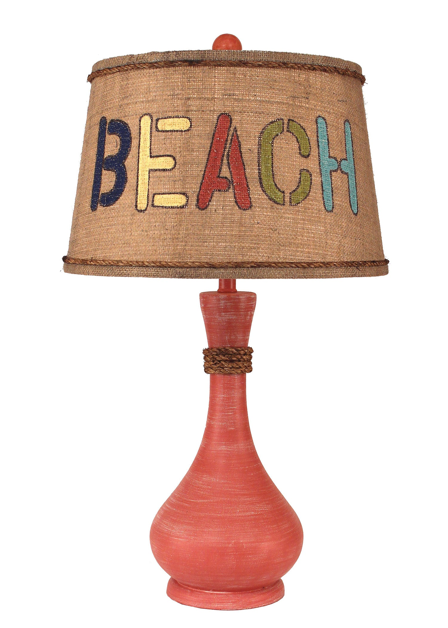 "Weathered Coral ""BEACH"" Table Lamp - Coast Lamp Shop"