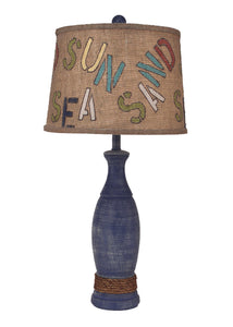 "Weathered Morning Jewel ""SUN, SEA, SAND"" Table Lamp - Coast Lamp Shop"