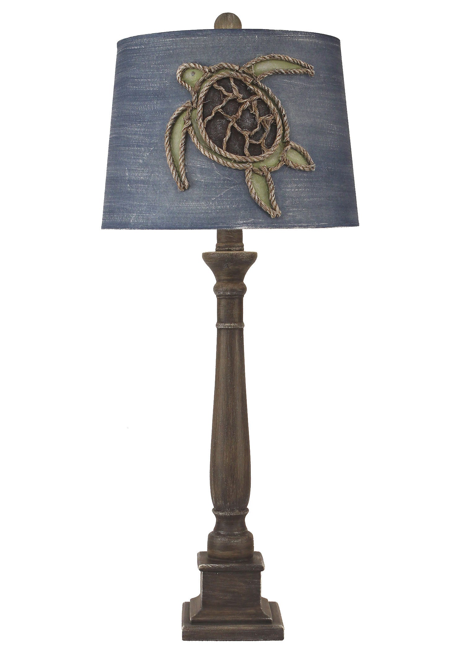 Greywood Candlestick Table Lamp w/ Turtle Shade - Coast Lamp Shop