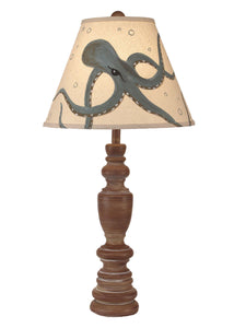 Sandalwood Candlestick Table Lamp w/ Seamist Octopus Shade - Coast Lamp Shop