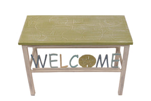 "24"" Cottage/Multi Cottage Stripe Welcome Bench w/ Multi Shell Top - Coast Lamp Shop"