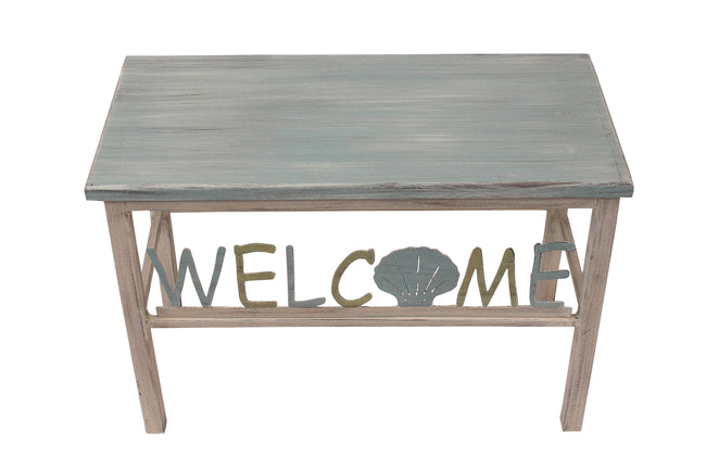 Cottage/Summer Welcome Bench w/ Shell Accent - Coast Lamp Shop