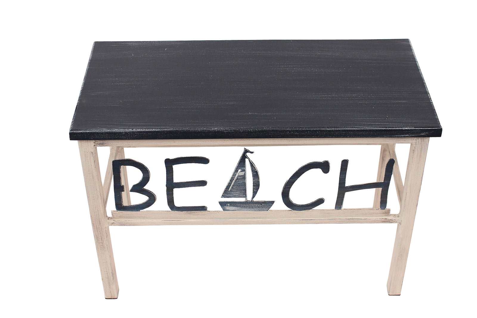 Cottage/Navy Beach Bench w/ Sailboat Accent - Coast Lamp Shop