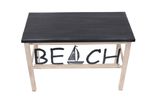 "24"" Cottage/Atlantic Grey Welcome Bench w/ Palm Tree Accent"