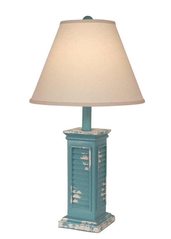 Tattered Turquoise Sea Shutter Table Lamp - Coast Lamp Shop