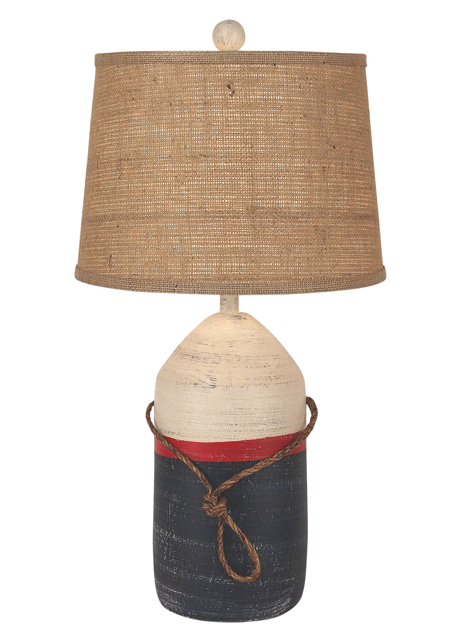 Cottage/Primary Large Buoy w/ Rope Accent - Coast Lamp Shop