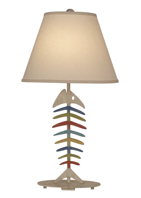 Cottage/Fun Color Stripe Bone Fish Table Lamp - Coast Lamp Shop