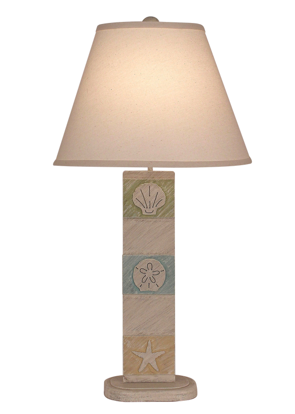 Cottage/ Multi Color 3-Panel Multi Shell Table Lamp - Coast Lamp Shop