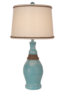 Weathered Turquoise Sea Slender Casual Table Lamp w/ Rope Accent - Coast Lamp Shop