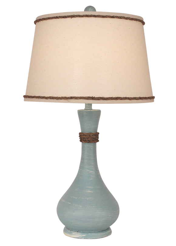 Weathered Atlantic Grey Smooth Genie Bottle Table Lamp w/ Rope Accent - Coast Lamp Shop
