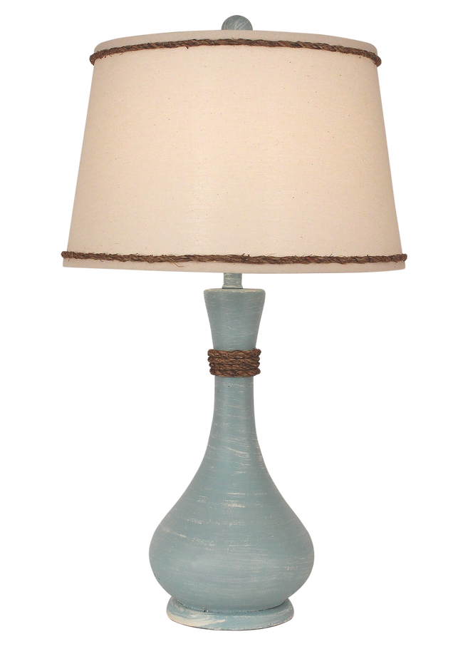 Weathered Atlantic Grey Smooth Genie Bottle Table Lamp w/ Rope Accent