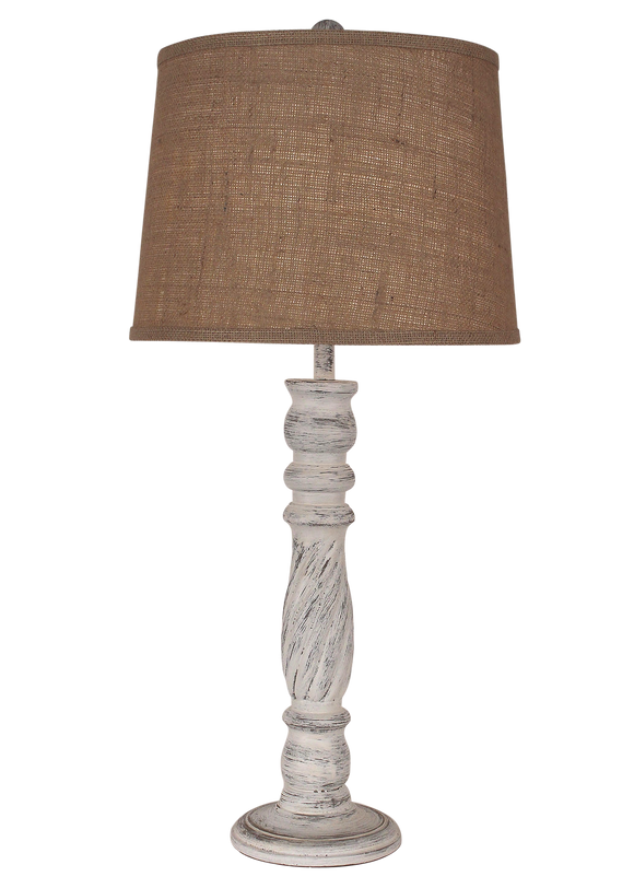 Shabby Light Nude Swirl Table Lamp - Coast Lamp Shop