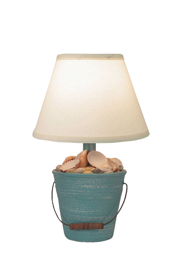 Weathered Turquoise Sea Mini Bucket of Shells Accent Lamp - Coast Lamp Shop