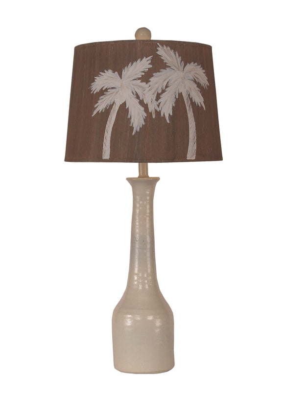 Solid Cottage Slender Neck Textured Pottery Lamp - Coast Lamp Shop