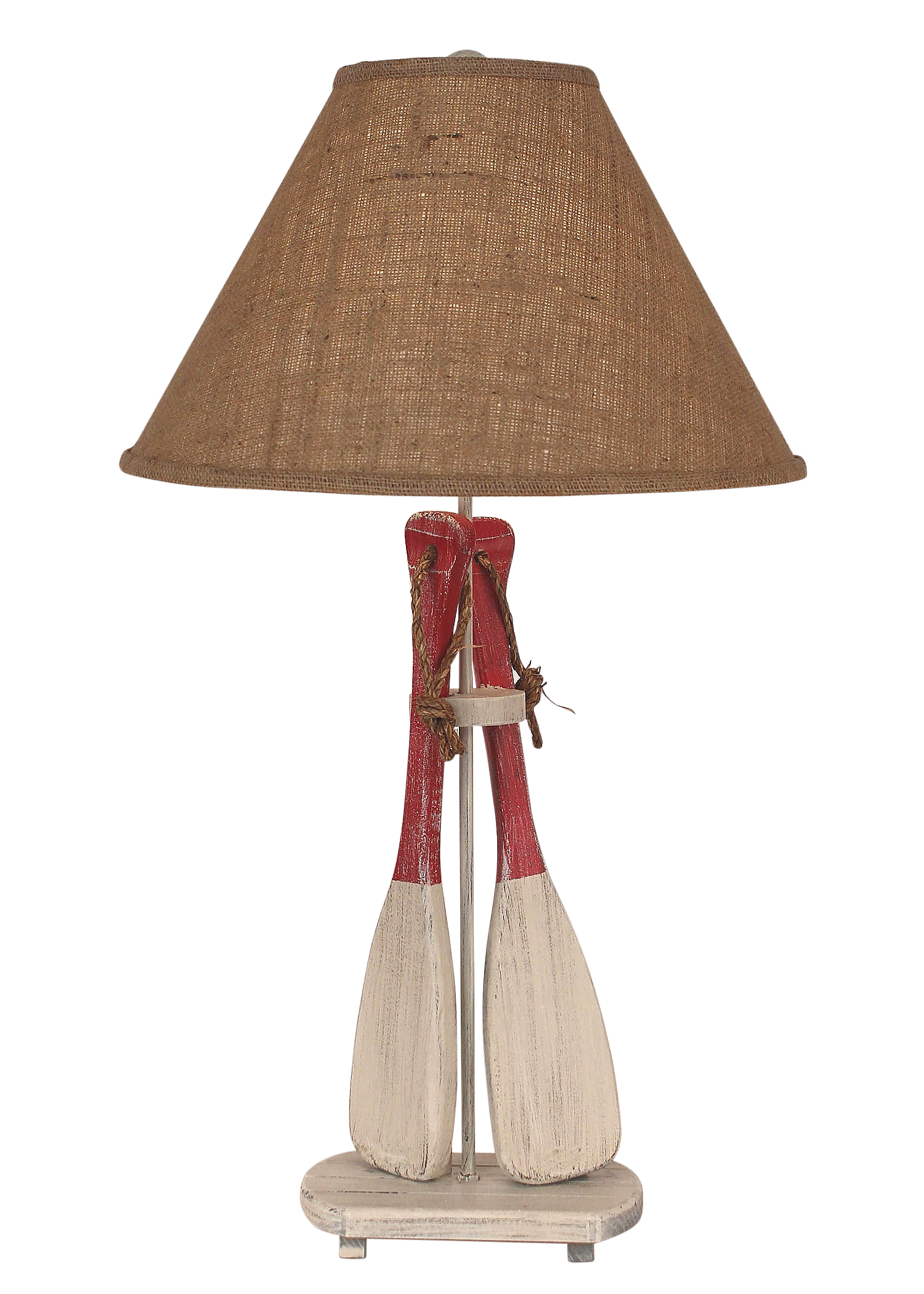 Cottage/Red 2-Paddles w/ Rope Table Lamp - Coast Lamp Shop