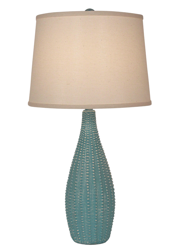 Weathered Turquoise Sea Beaded Vase Table Lamp - Coast Lamp Shop