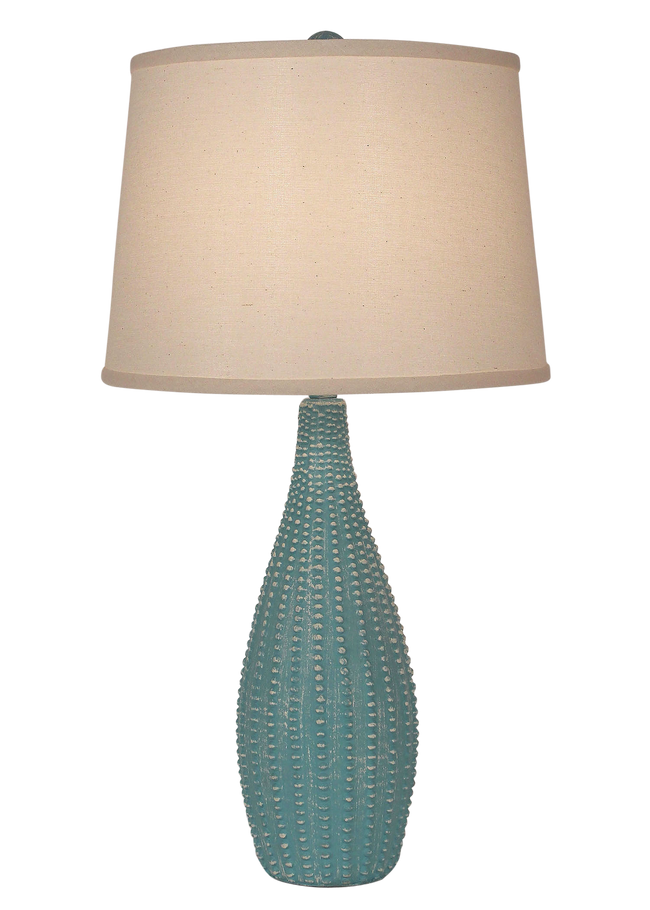 Weathered Turquoise Sea Beaded Vase Table Lamp