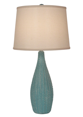 Distressed Turquoise Sea Rectangle Birds on a Branch Table Lamp