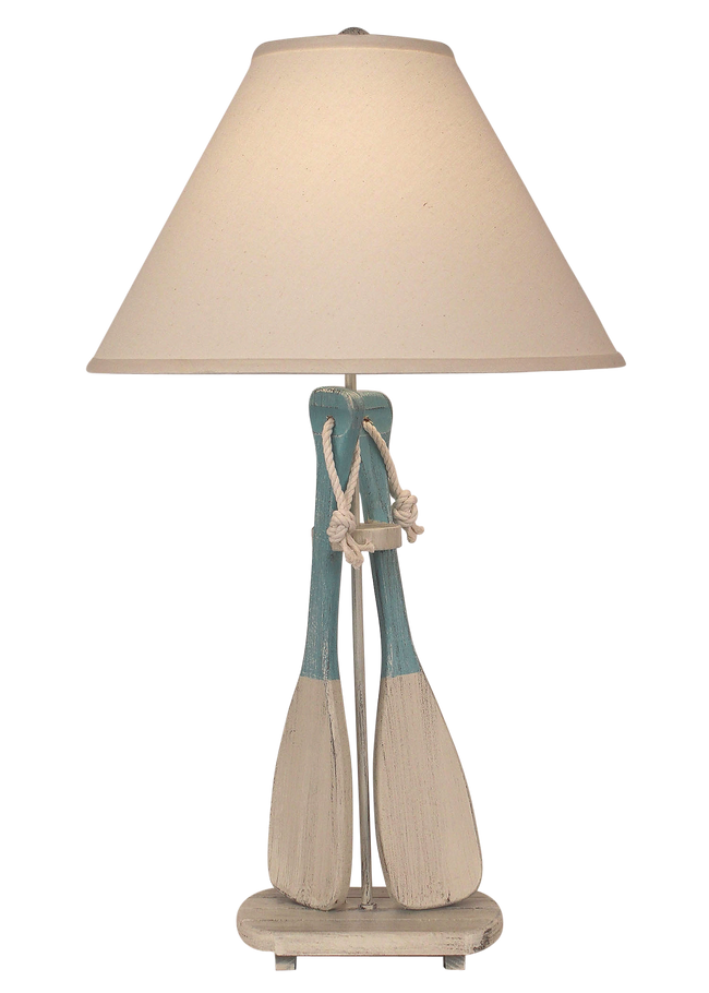 Cottage/Turquoise Sea 2-Paddles w/ White Rope Table Lamp - Coast Lamp Shop