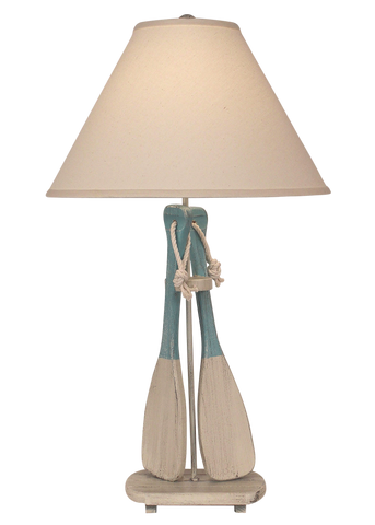 Cottage Manila Rope Table Lamp w/ Burlap and Star Fish Shade