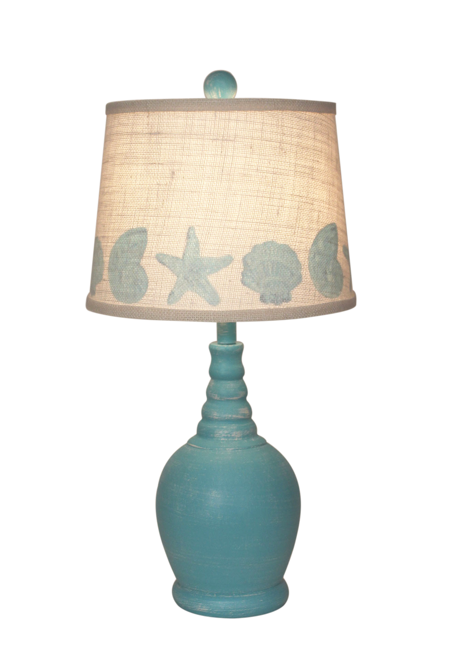 Aqua Round Accent Lamp w/Ribbed Neck- Matching Multi Shell Shade - Coast Lamp Shop
