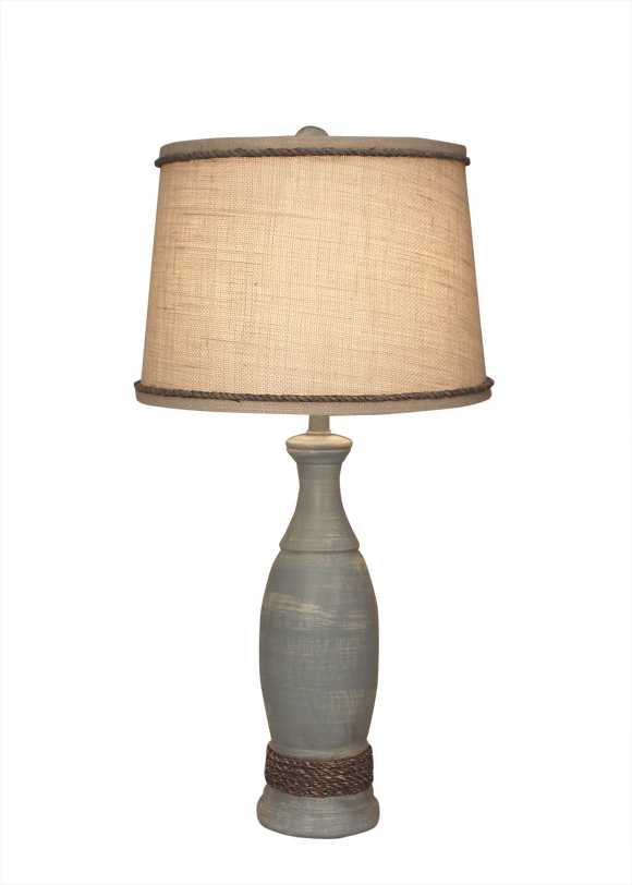 Seaside Villa Casual Pedestal Lamp w/Weathered  Rope Accent - Coast Lamp Shop