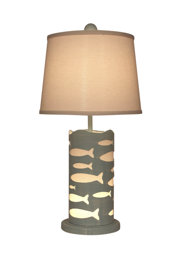 Atlantic Grey Round Accent Lamp w/School of Fish & Night Light - Coast Lamp Shop