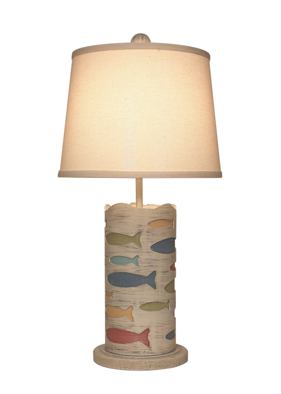 Round Accent Lamp w/School of Fish- Fun Color Accent - Coast Lamp Shop