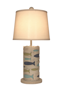 Round Accent Lamp w/School of Fish- Bright Stripe - Coast Lamp Shop