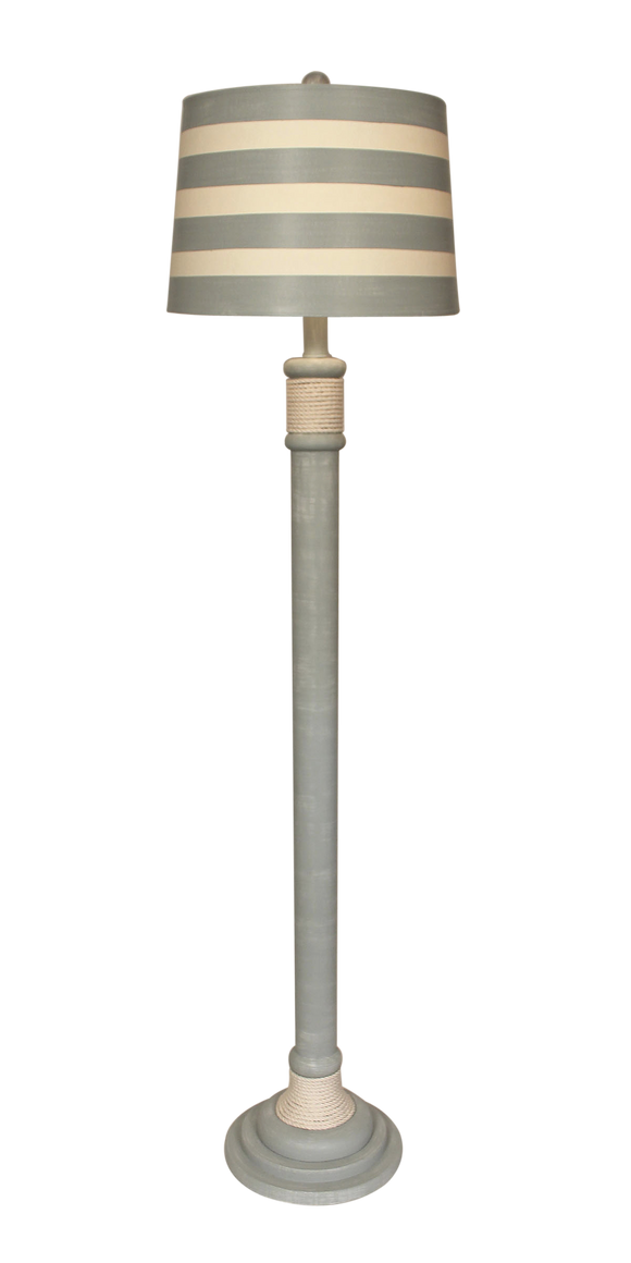 Pale Grey White Rope Accent Floor Lamp - Coast Lamp Shop