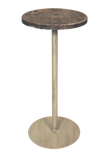 Round Wood Top w/Multi Shell Accent Drink Table - Coast Lamp Shop