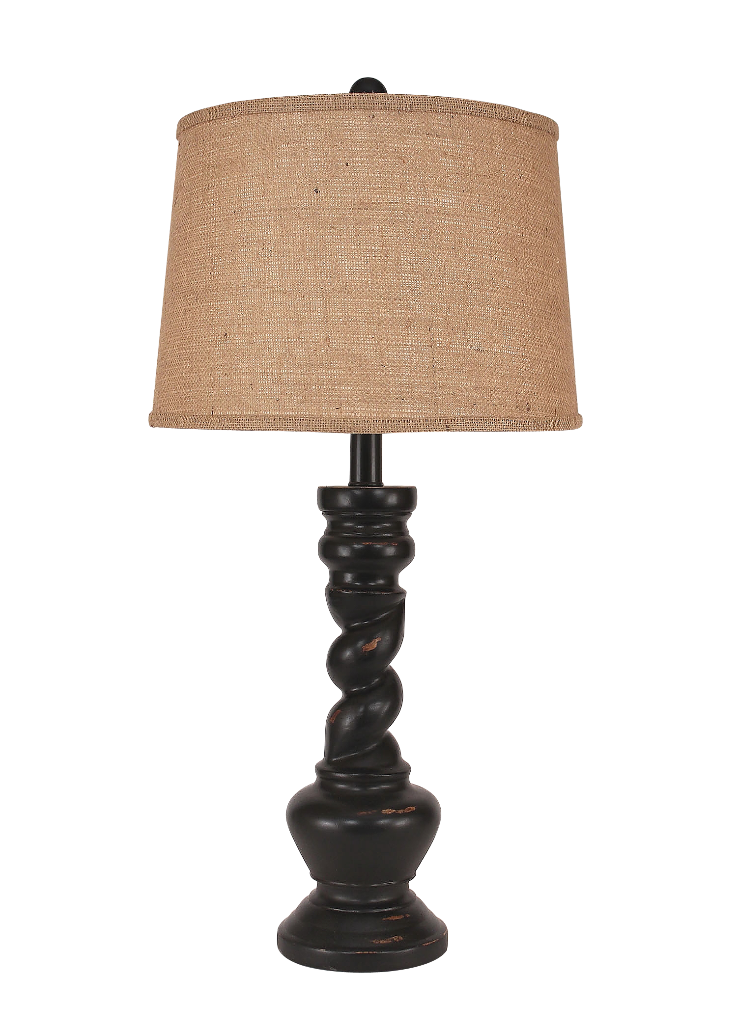 Distressed Black Country Twist Table Lamp - Coast Lamp Shop