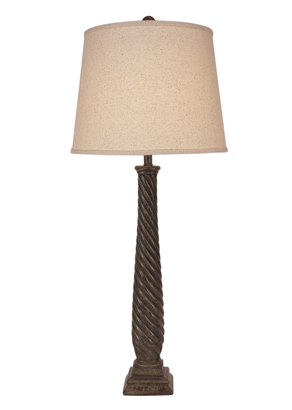 Tarnished Pale Grey Tall Slender Swirl Table Lamp - Coast Lamp Shop