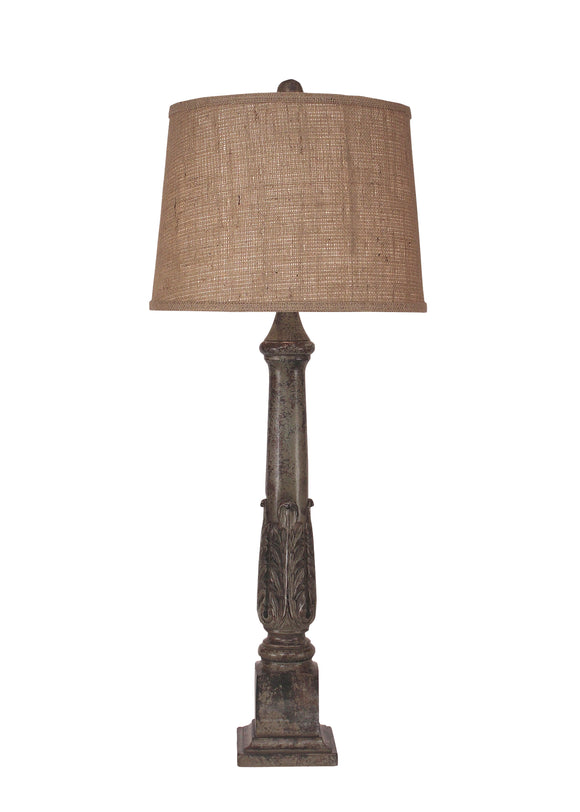 Tarnished Pale Grey Acanthus Leaf Table Lamp - Coast Lamp Shop