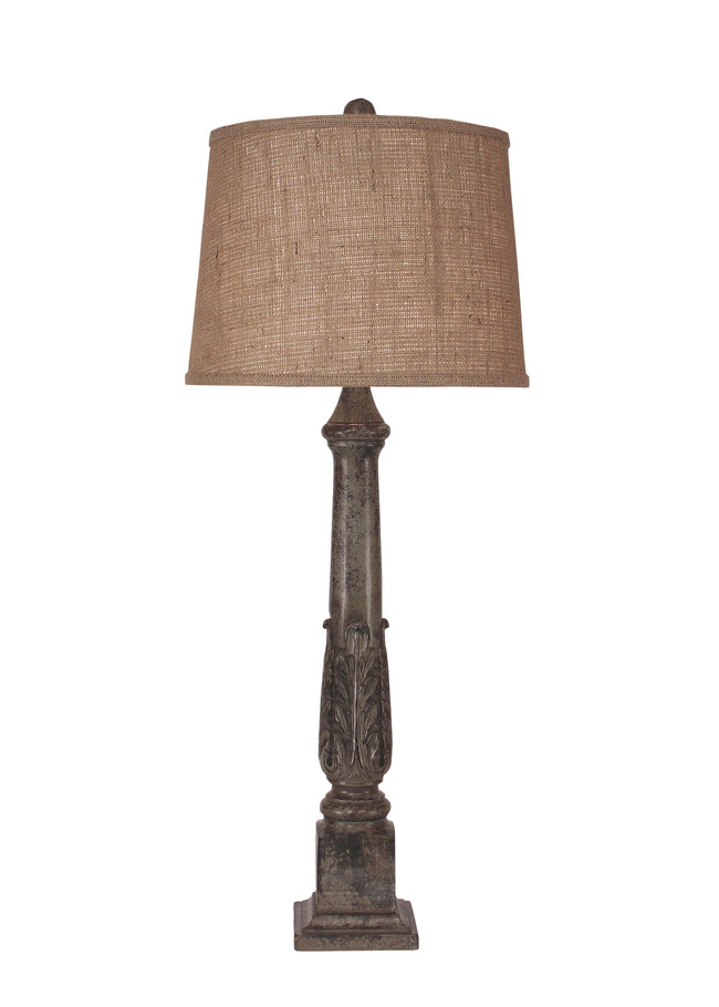 Tarnished Pale Grey Acanthus Leaf Table Lamp