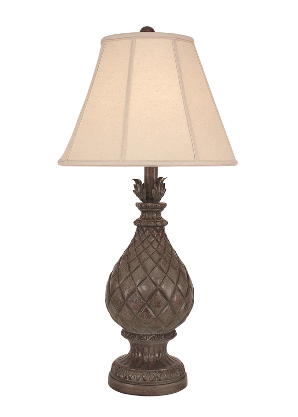 Tarnished Pale Grey Regal Pineapple Table Lamp - Coast Lamp Shop