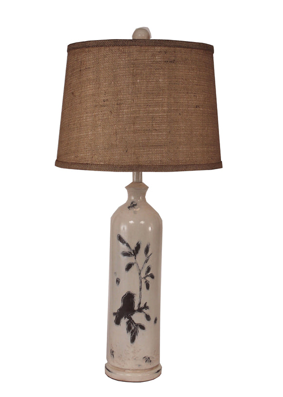 Distressed Nude Tall Birds on a Branch Table Lamp - Coast Lamp Shop