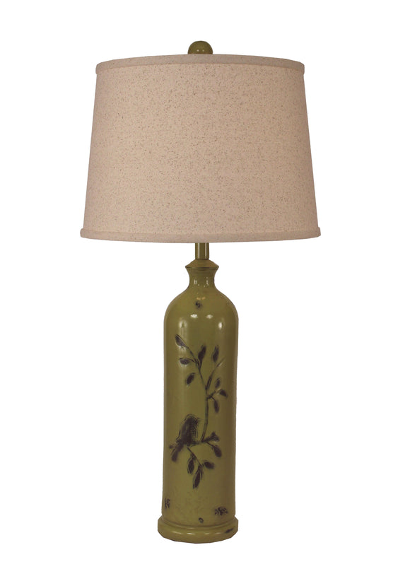 Distressed Lime Tall Birds on a Branch Table lamp - Coast Lamp Shop