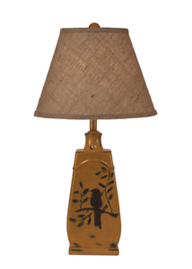 Distressed Yellow Gold Tapered Birds on a Branch Table Lamp - Coast Lamp Shop