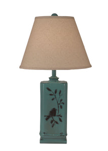 Distressed Turquoise Sea Rectangle Birds on a Branch Table Lamp - Coast Lamp Shop