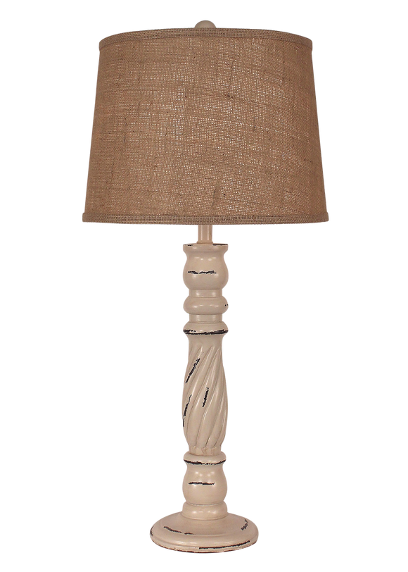Heavy Distressed Cottage Swirl Candlestick Table Lamp - Coast Lamp Shop