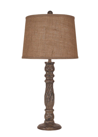 Dark Bronze Iron Swing Arm Table Lamp with Wooden Base- Pine Tree Accent