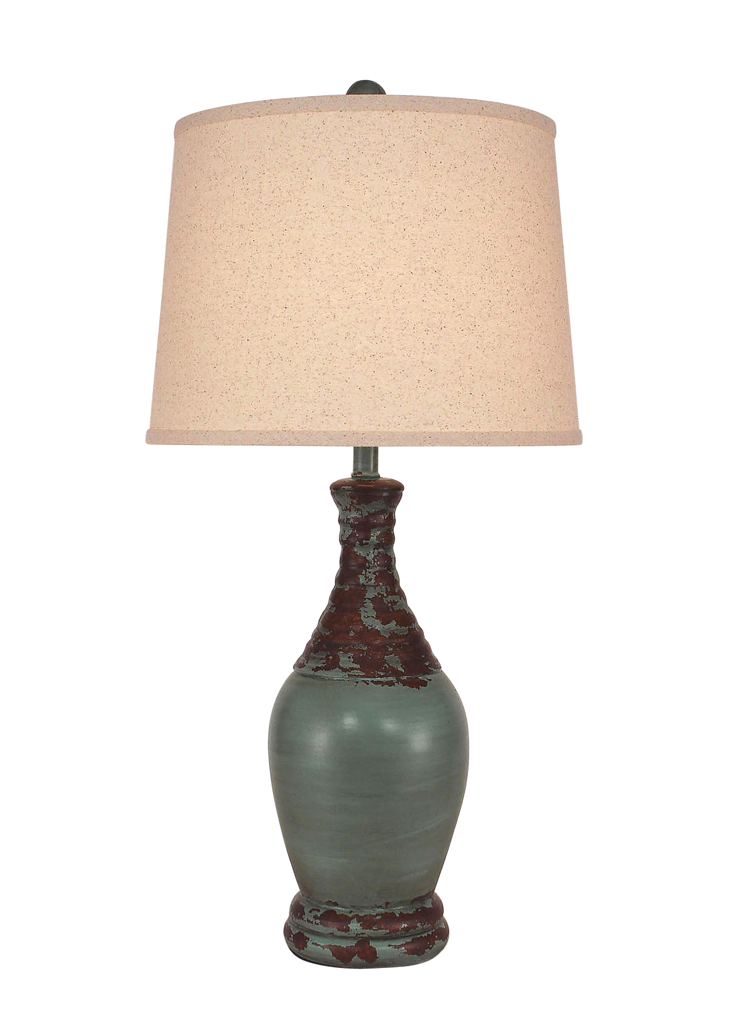 Aged Turquoise Sea Ribbed Neck Tear Drop - Coast Lamp Shop