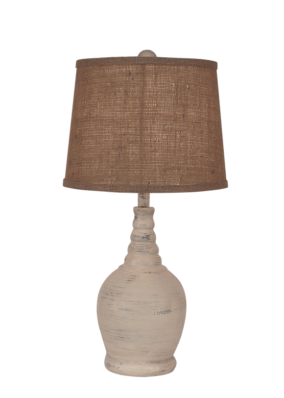 Cottage Round Accent Lamp w/ Ribbed Neck - Coast Lamp Shop