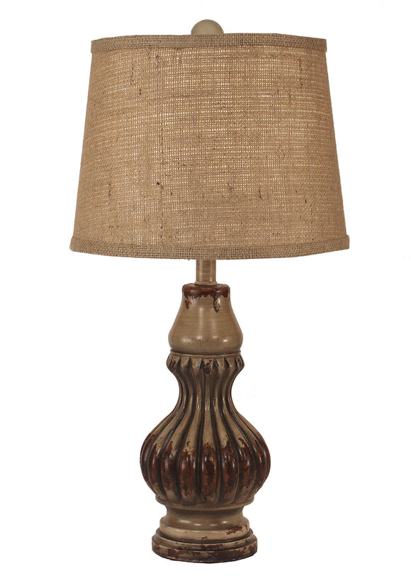 Aged Cottage Ribbed Genie Accent Lamp - Coast Lamp Shop