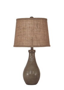 Pale Grey Glazed Eggplant Clay Table Lamp - Coast Lamp Shop
