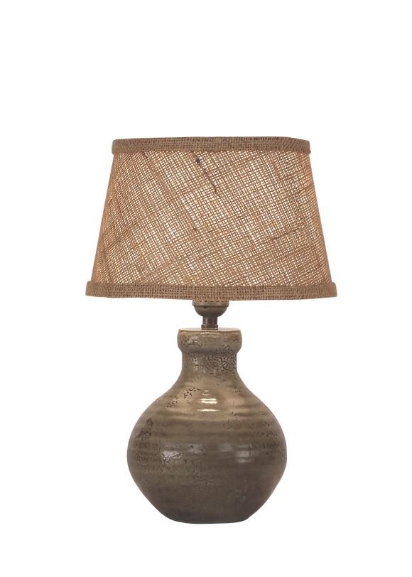 Pale Grey Glazed Mini Clay Accent Lamp - Coast Lamp Shop